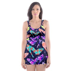 Colorful High Heels Pattern Skater Dress Swimsuit