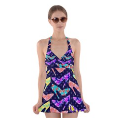 Colorful High Heels Pattern Halter Swimsuit Dress