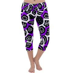 Purple playful design Capri Yoga Leggings
