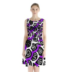 Purple playful design Sleeveless Waist Tie Dress