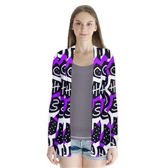 Purple Playful Design Drape Collar Cardigan