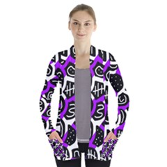 Purple playful design Women s Open Front Pockets Cardigan(P194)