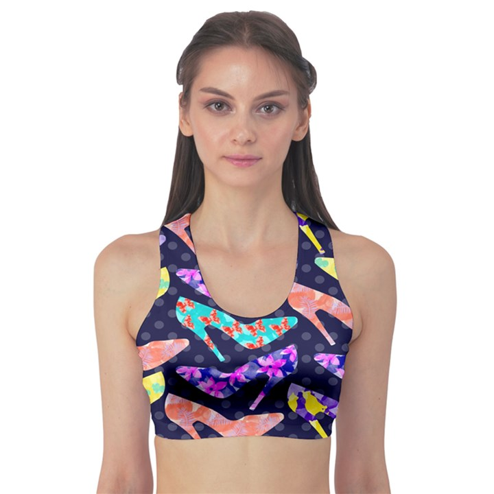 Colorful High Heels Pattern Sports Bra