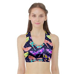 Colorful High Heels Pattern Sports Bra With Border