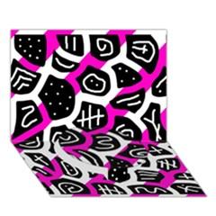 Magenta playful design Circle Bottom 3D Greeting Card (7x5)
