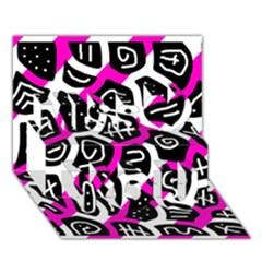 Magenta playful design Miss You 3D Greeting Card (7x5)