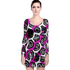 Magenta playful design Long Sleeve Bodycon Dress