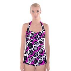 Magenta playful design Boyleg Halter Swimsuit