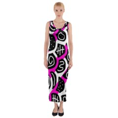 Magenta playful design Fitted Maxi Dress
