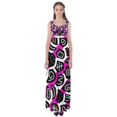 Magenta playful design Empire Waist Maxi Dress