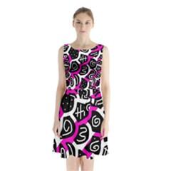 Magenta Playful Design Sleeveless Waist Tie Dress