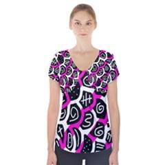 Magenta Playful Design Short Sleeve Front Detail Top