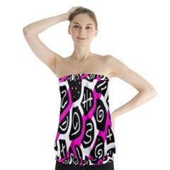 Magenta playful design Strapless Top