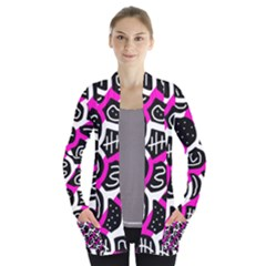 Magenta playful design Women s Open Front Pockets Cardigan(P194)