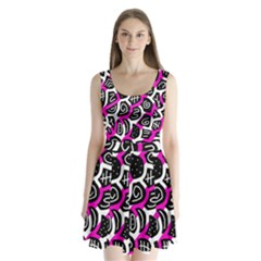 Magenta playful design Split Back Mini Dress