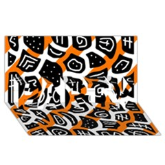 Orange playful design PARTY 3D Greeting Card (8x4)