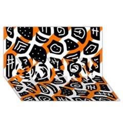 Orange playful design SORRY 3D Greeting Card (8x4)