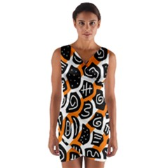 Orange playful design Wrap Front Bodycon Dress