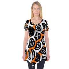 Orange playful design Short Sleeve Tunic