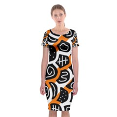 Orange playful design Classic Short Sleeve Midi Dress