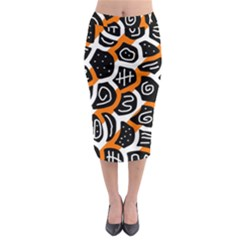 Orange Playful Design Midi Pencil Skirt