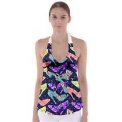 Colorful High Heels Pattern Babydoll Tankini Top