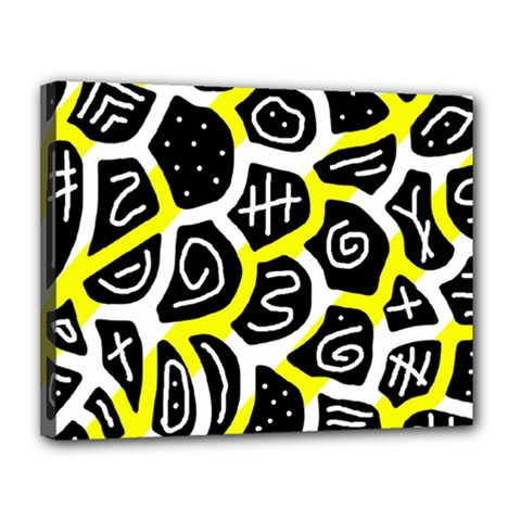 Yellow playful design Canvas 14  x 11