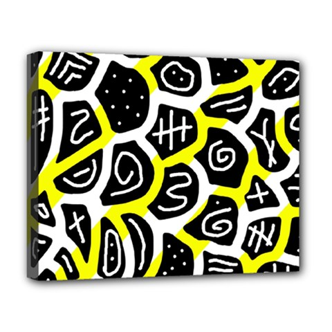 Yellow playful design Deluxe Canvas 20  x 16