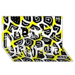 Yellow playful design Best Friends 3D Greeting Card (8x4)