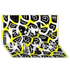 Yellow playful design Best Wish 3D Greeting Card (8x4)