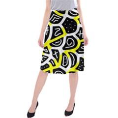 Yellow playful design Midi Beach Skirt