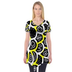 Yellow playful design Short Sleeve Tunic