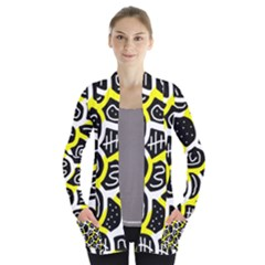 Yellow playful design Women s Open Front Pockets Cardigan(P194)