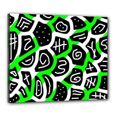 Green playful design Canvas 24  x 20