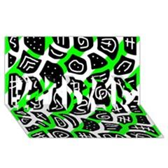 Green playful design #1 DAD 3D Greeting Card (8x4)