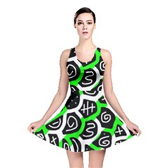 Green playful design Reversible Skater Dress