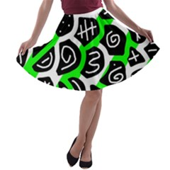 Green playful design A-line Skater Skirt