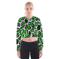 Green playful design Women s Cropped Sweatshirt