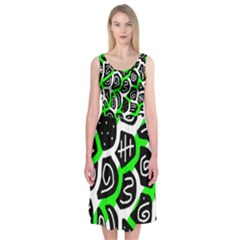 Green Playful Design Midi Sleeveless Dress