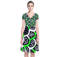 Green playful design Short Sleeve Front Wrap Dress