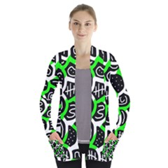 Green playful design Women s Open Front Pockets Cardigan(P194)