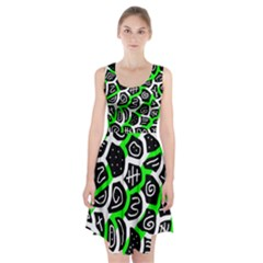 Green Playful Design Racerback Midi Dress
