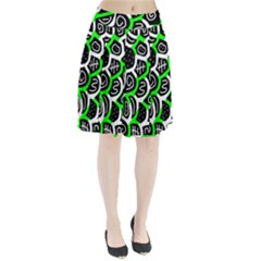 Green playful design Pleated Skirt