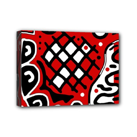 Red high art abstraction Mini Canvas 7  x 5