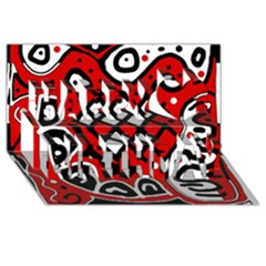 Red high art abstraction Happy Birthday 3D Greeting Card (8x4)