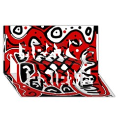 Red high art abstraction Best Friends 3D Greeting Card (8x4)