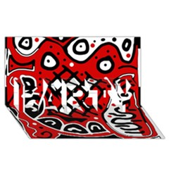 Red high art abstraction PARTY 3D Greeting Card (8x4)