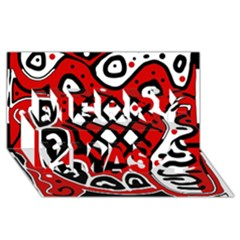 Red high art abstraction Merry Xmas 3D Greeting Card (8x4)