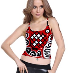 Red high art abstraction Spaghetti Strap Bra Top