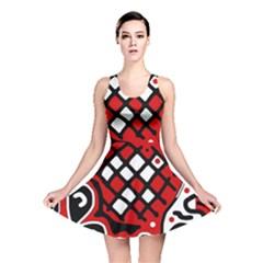 Red high art abstraction Reversible Skater Dress